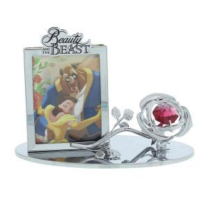 beauty and the beast rose and frame ornament