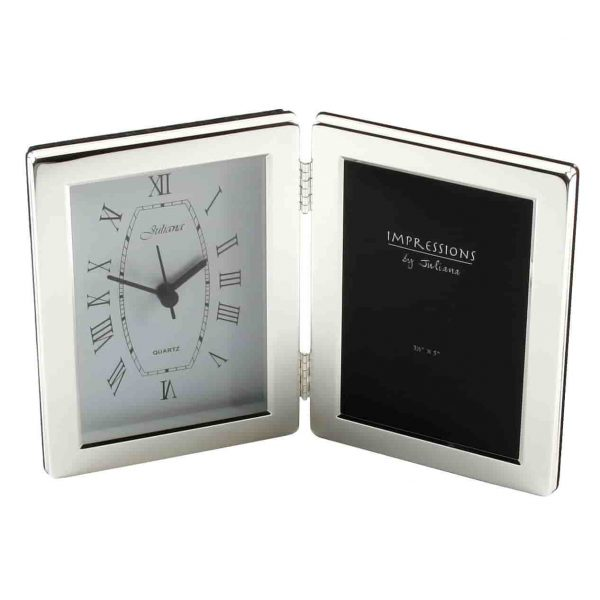 SILVER PLATED CLOCK & PHOTO FRAME