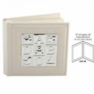 Christening Photo Album Baby ABC Silver Plated holds 80 4 X 6