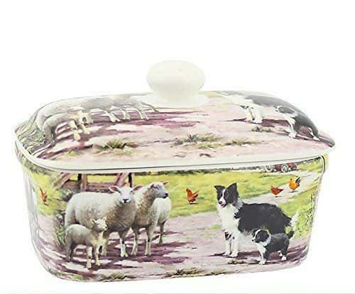 FARM SCENE BUTTER DISH BY LEONARDO COLLECTION