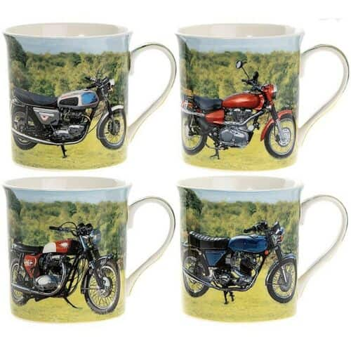 Set of 4 Assorted Motorbike Mugs