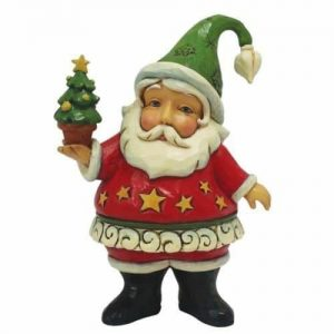 Jim Shore Heartwood Creek Mini Santa Holding Christmas Tree