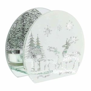 Reindeer Forest Scene Single Tea Light Candle Holder