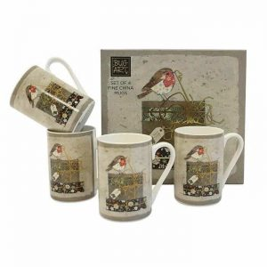 Set Of Bug Art Christmas Robin Mugs