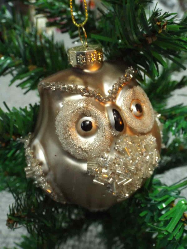 Gold Owl Bird Tree Hanging Decoration