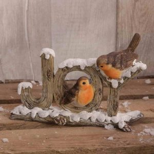 Christmas Robins Joy Mantel piece