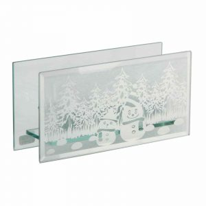 Christmas Snowman Triple Glass Tea Light Holder