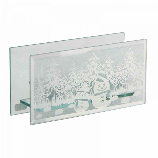 Christmas Snowman Triple Glass Tea Light Holder