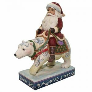 Jim Shore Santa Riding A Polar Bear Figurine