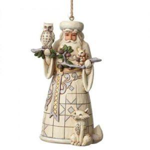 Heartwood Creek White Woodland Santa Christmas Hanging Ornament