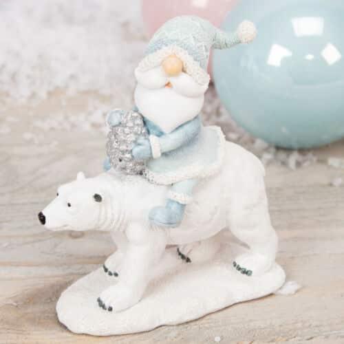 CHRISTMAS SANTA RIDING ON POLAR BEAR Figurine