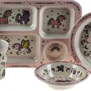 Unicorn 5 Piece Melamine Kid's Dinner Set - Plate, Bowl, Tray, Cup, Metal Cutlery