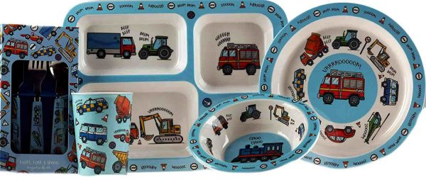 Vehicle 5 Piece Melamine Kid's Dinner Set