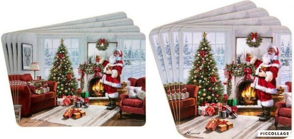 Traditional Christmas Santa Table Place Setting 4 x Placemats or 4 x Coasters