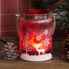 Christmas Red Reindeer Frosted Glass