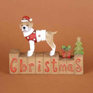 Christmas Dog Mantel Block Decoration