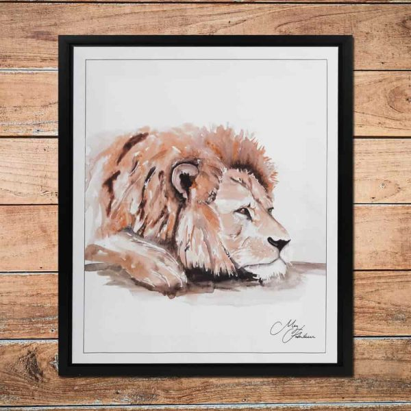 MEG HAWKINS FRAMED WALL ART - LION 50CM