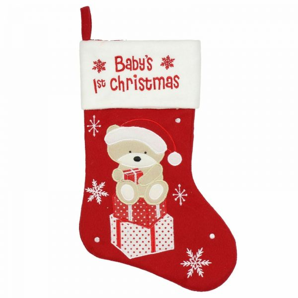 Baby's First Christmas Red & White stocking