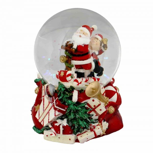 Hand Painted Musical Santa & Elf Christmas Snowglobe