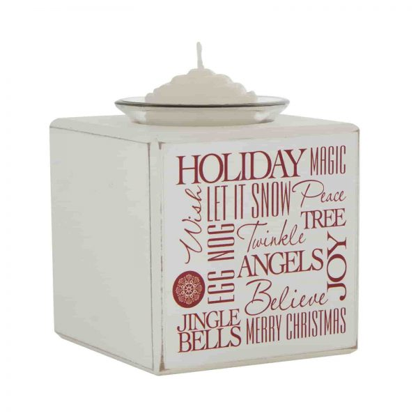 Shabby Chic Merry & Bright Wooden Tea Light Candle Holde