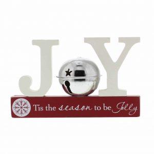 Christmas Silver Bell Mantel Shelf Sitter JOY
