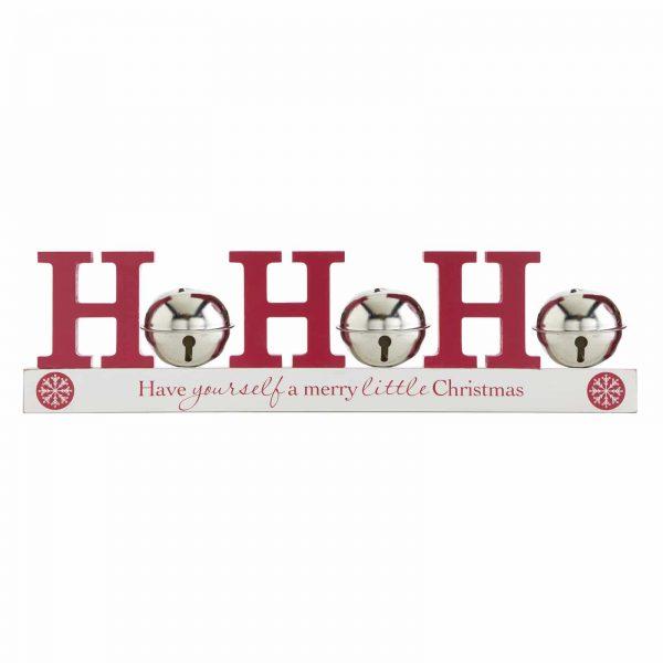Christmas HO HO HO Silver Bell Mantel Shelf Sitter