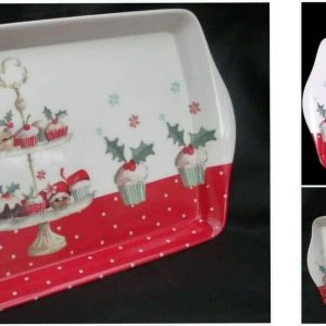 Red Christmas Cup Cake Melamine serving tray Collection