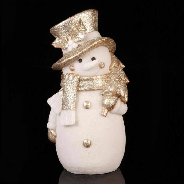 Christmas Light Up Gold Glitter Snowman