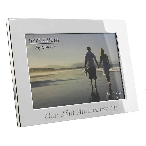 """Silverplated 25th Silver Wedding Anniversary Photo Frame 7 x 5 """""""