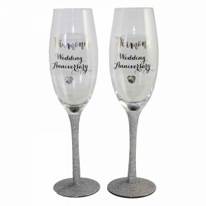 60th Diamond Glitter Wedding Anniversary Gift Champagne Flutes