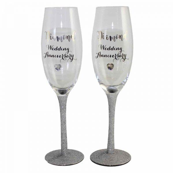 60th Diamond Glitter Wedding Anniversary Gift Champagne Flutes