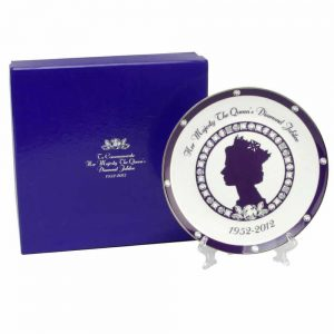 Queen Elizabeth 1952-2012 Diamond Jubilee purple and white Plate and stand