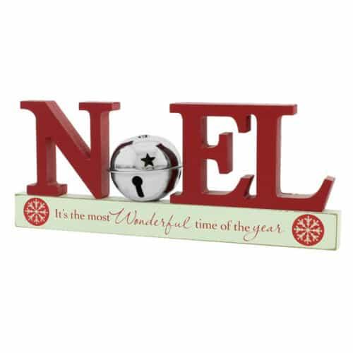 Christmas Mantel Shelf Sitter Decoration Noel Silver Bell
