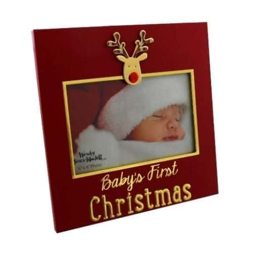 Baby's First Christmas Red Photo Frame