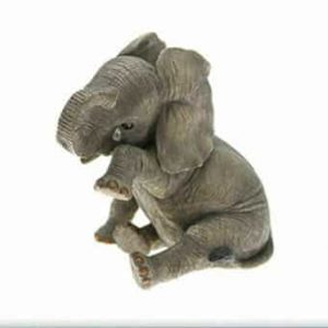 Grey Elephant Ornament with Teardrop 'Missing You' By The Leonardo Collection