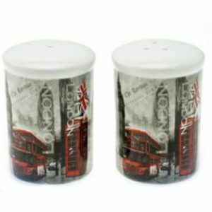 London Scene Black & White Salt Pepper Cruet Set