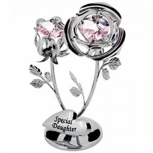 Crystocraft Special Daughter Rose Flower with Swarovski Crystal Elements