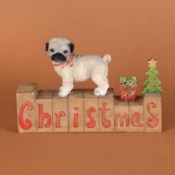 Christmas Pug Dog Mantel Block Decoration