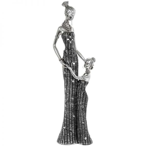Masai African Lady Mother & Child 40cm Figurine