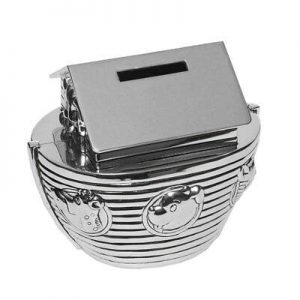 SILVER PLATED NOAH'S ARK MONEY BANK