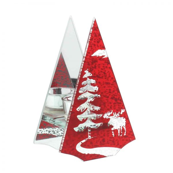 Hestia Christmas Tree & Reindeer Single Red T Lite Candle Holder