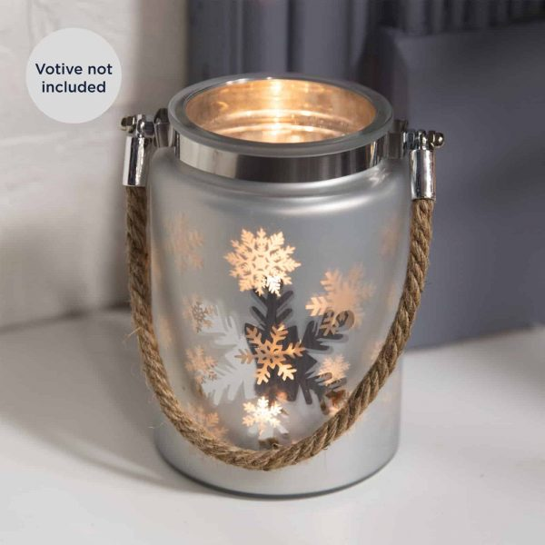 Christmas Silver Snowflake Frosted Glass Mason Jar Xmas Candle Tealight Holder