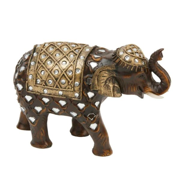 Wood Mirror Effect Elephant Trunk Up Figurine By Juliana