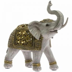 Gold LED Elephant Figurine Leonardo collection