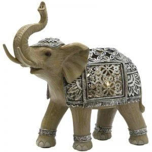 Elephant Silver Medium LED Ornament Figurine
