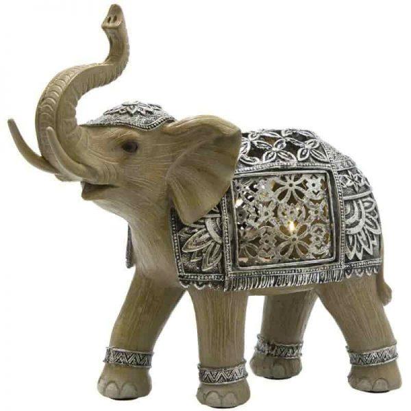 Elephant Silver Medium LED Ornament Figurine