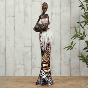 Masai African Lady Carrying Basket 39cm Figurine