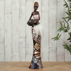 Masai African Lady Carrying Basket 39cm Figurine