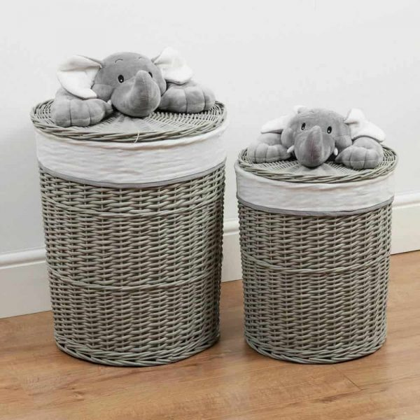 Bambino Set Of 2 Round Wicker Laundry Basket With Elephant Plush