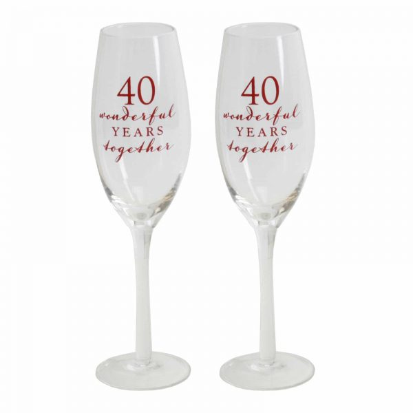 40th Ruby Wedding Anniversary Pair of Champagne Glass